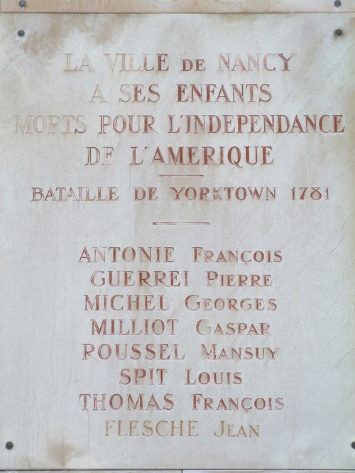 Ville de  Nancy - Plaque commémorative bataille de Yorktown