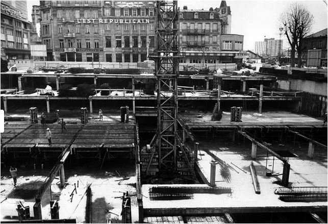 Ville de Nancy - Construction du Parking Thiers en 1974
