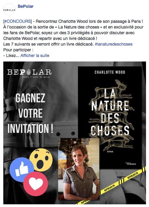 Concours Charlotte Wood sur Facebook