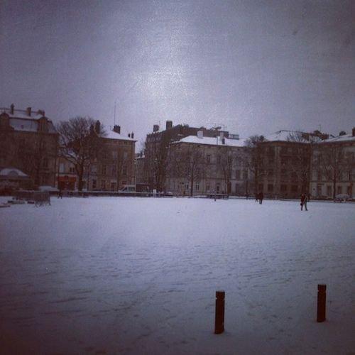 Ville de Nancy sous la neige - Cours Léopold