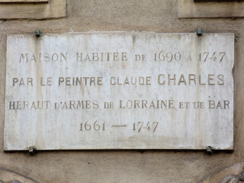 Ville de  Nancy - Plaque commémorative Claude Charles dit Le lorrain