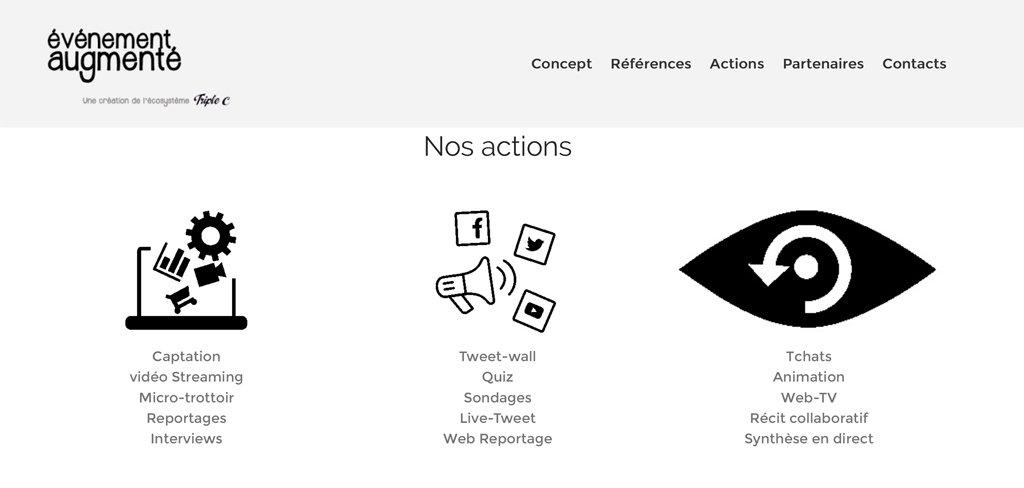 Capture d'écran du site www.evenement-augmente.fr dévellopé par Triple C