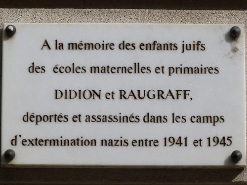 Ville de  Nancy - Plaque commémorative école Didion et Raugraff