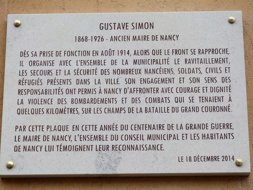 Ville de  Nancy - Plaque commémorative Gustave Simon