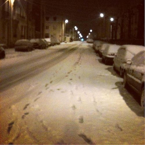 Ville de Nancy sous la neige - Rue Gebhart