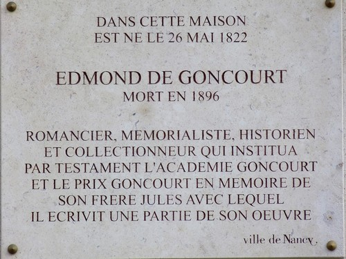 Ville de  Nancy - Plaque commémorative Edmond Goncourt