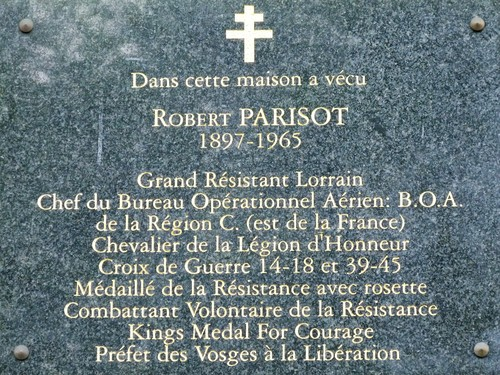 Ville de  Nancy - Plaque commémorative Robert Parisot