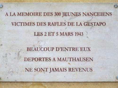Ville de  Nancy - Plaque commémorative jeunesse nancéienne